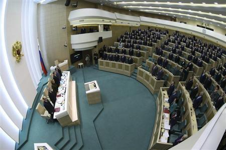 Russia's FM Lavrov speaks to members of the Federation Council, Russia's upper house of Parliament, in Moscow