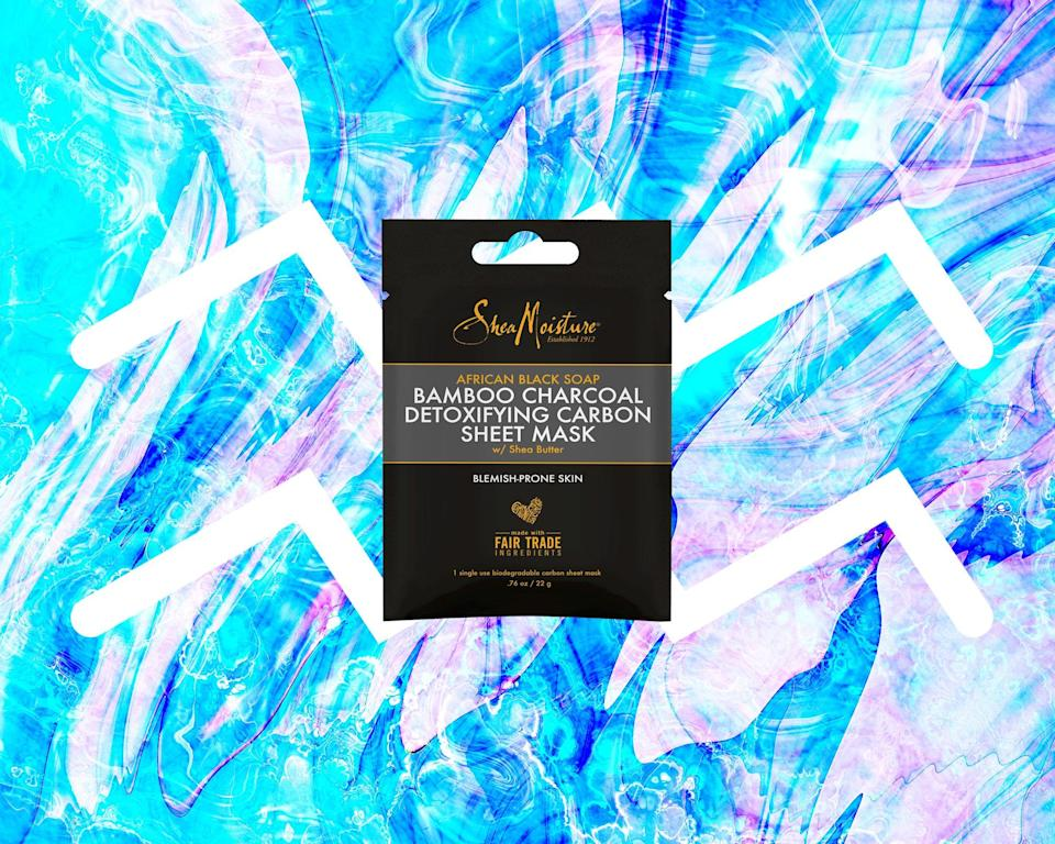 """<h1 class=""""title"""">August Aquarius Horoscope - SheaMoisture African Black Soap Bamboo Charcoal Detoxifying Carbon Sheet Face Mask</h1> <div class=""""caption""""> <em>All products featured on Allure are independently selected by our editors. However, when you buy something through our retail links, we may earn an affiliate commission.</em> </div> <cite class=""""credit"""">Courtesy of brand / Allure: Rosemary Donahue</cite>"""