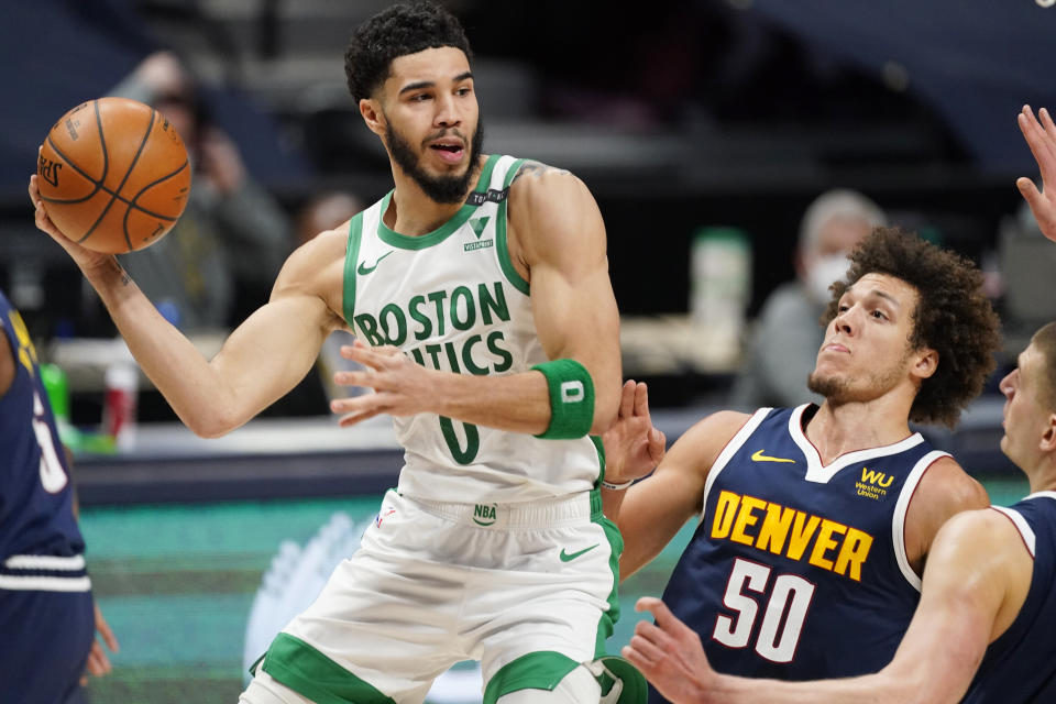 The Celtics ended the game on a 40-8 run and totally flipped the script on the Nuggets in the fourth quarter. (AP/David Zalubowski)