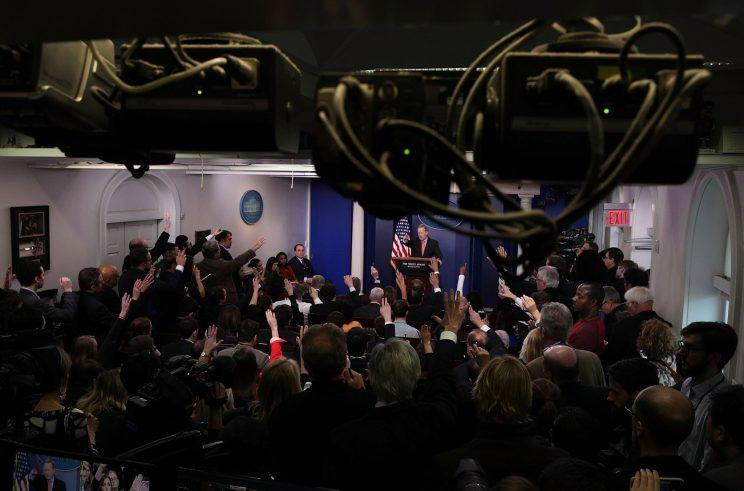 White House press secretary Sean Spicer takes questions during the daily press briefing at the James Brady Press Briefing Room of the White House. (Photo: Alex Wong/Getty Images)