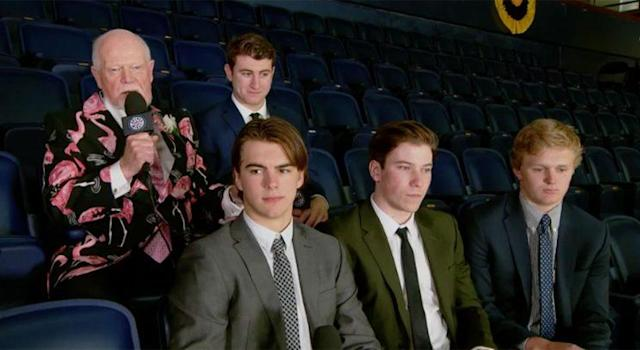 """<a class=""""link rapid-noclick-resp"""" href=""""/nfl/players/29917/"""" data-ylk=""""slk:Don Cherry"""">Don Cherry</a> interviews the 2017 NHL draft class during the second intermission of Game 4 of the Stanley Cup Final."""