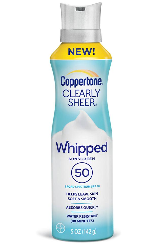 """<p>Everything is better when it's whipped and foamy—even your basic body sunscreen.</p><p><em>Coppertone Clearly Sheer Whipped Sunscreen SPF 50</em><span><em>, $6.97, <a rel=""""nofollow"""" href=""""https://www.walmart.com/ip/Coppertone-Clearly-Sheer-Sunscreen-Spray-SPF-50-5-oz/51222473?wmlspartner=wlpa&selectedSellerId=0&adid=22222222227041309659&wl0=&wl1=g&wl2=c&wl3=95814715952&wl4=aud-273067695102:pla-196268839472&wl5=9004072&wl6=&wl7=&wl8=&wl9=pla&wl10=8175035&wl11=online&wl12=51222473&wl13=&veh=sem"""">walmart.com</a>.</em></span><br></p>"""