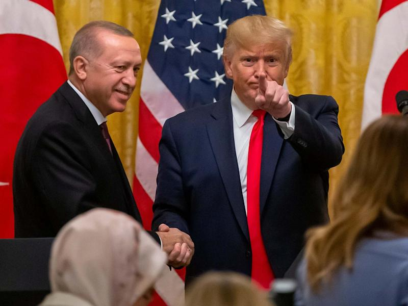 Donald Trump and Turkish president Recep Tayyip Erdogan at a joint press conference in the East Room of the White House in Washington, DC, on 13 November 2019: Erik S Lesser/EPA