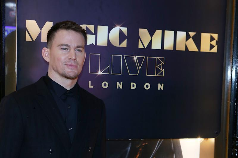 """LONDON, ENGLAND - NOVEMBER 28: Channing Tatum at the Opening Night of """"Magic Mike Live"""" at The Hippodrome on November 28, 2018 in London, England. (Photo by David M. Benett/Dave Benett/Getty Images for Magic Mike Live)"""