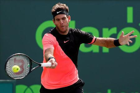 FILE PHOTO: Mar 27, 2018; Key Biscayne, FL, USA; Juan Martin del Potro of Argentina hits a forehand against Filip Krajinovic of Serbia (not pictured) on day eight of the Miami Open at Tennis Center at Crandon Park. Del Potro won 6-4, 6-2. Geoff Burke-USA TODAY Sports via REUTERS