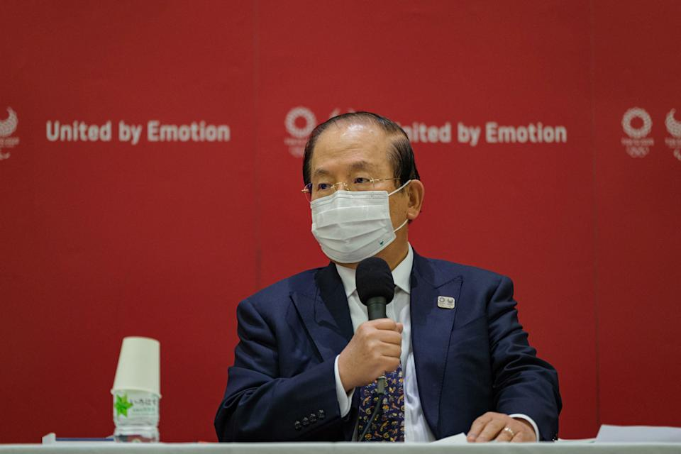 Muto Toshiro, CEO of Tokyo 2020, attends a press conference after a Tokyo 2020 executive board meeting in Tokyo on April 26, 2021.