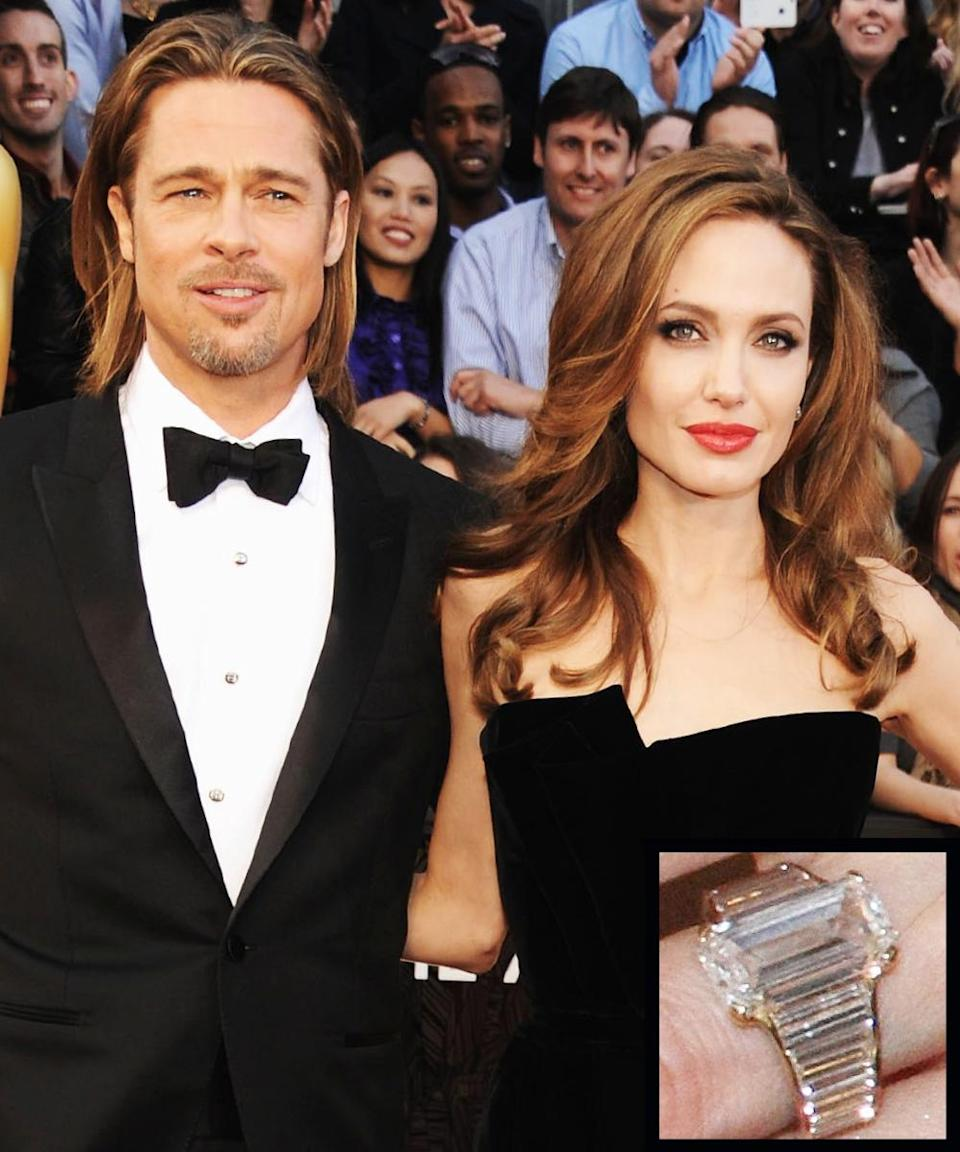 <p>Brad Pitt proposed to longtime partner Angelina Jolie in April 2012 with a rectangular diamond ring estimated to be more than 10 carats. The couple married in 2014.</p>