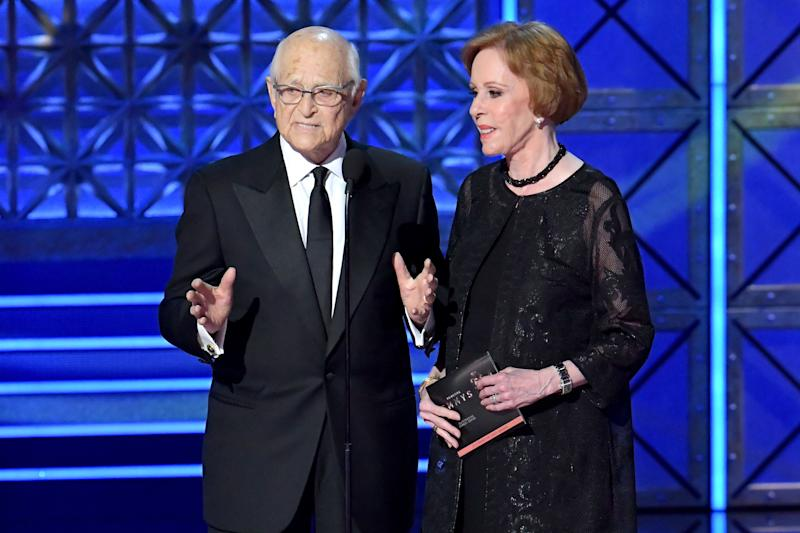 Writer-producer Norman Lear and actor-comedian Carol Burnett speak onstage during the 69th Annual Primetime Emmy Awards at Microsoft Theater on Sept. 17, 2017 in Los Angeles, California.