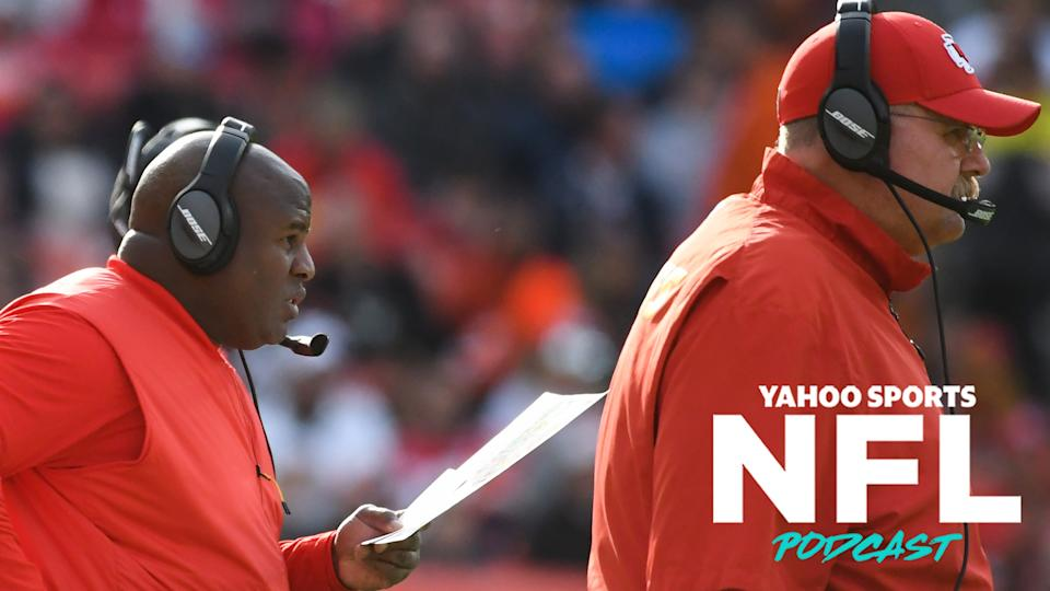 Chiefs offensive coordinator Eric Bieniemy stands behind head coach Andy Reid. On Tuesday, the NFL approved new changes to the Rooney Rule, which now requires franchises to interview at least two external minority candidates for head coaching vacancies. (Photo by: 2018 Nick Cammett/Diamond Images/Getty Images)