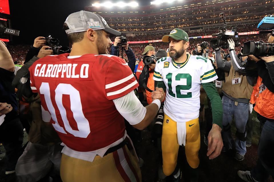 SANTA CLARA, CALIFORNIA - JANUARY 19: Jimmy Garoppolo #10 of the San Francisco 49ers shakes hands with Aaron Rodgers #12 of the Green Bay Packers after winning the NFC Championship game at Levi's Stadium on January 19, 2020 in Santa Clara, California. The 49ers beat the Packers 37-20. (Photo by Sean M. Haffey/Getty Images)
