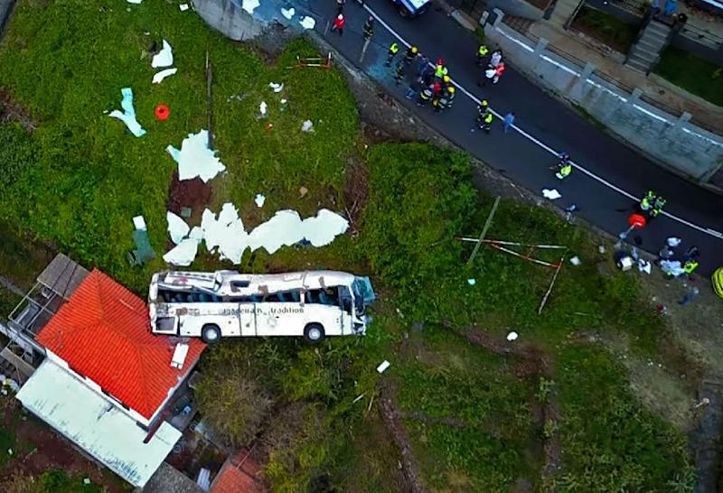 Drone footage showed the wreckage of the tourist bus that crashed on Wednesday on the Portuguese island of Madeira