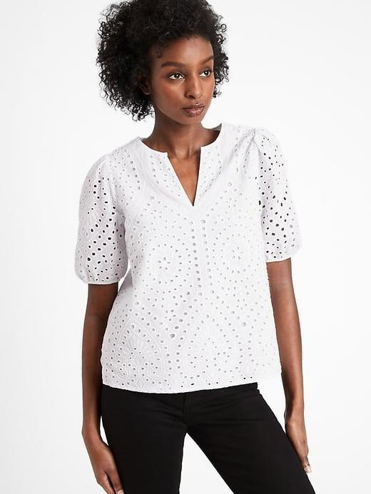 <p>We're imagining this <span>Banana Republic Eyelet Top</span> ($85) paired with a colorful floral skirt. </p>