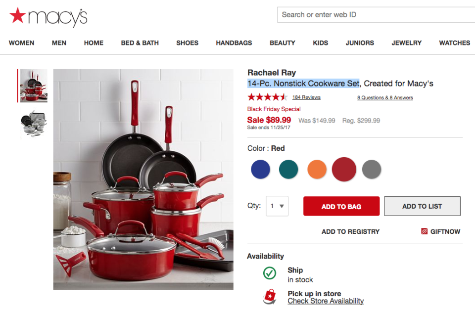 14-piece Rachel Ray cookware set on sale for Black Friday. (Macy's)