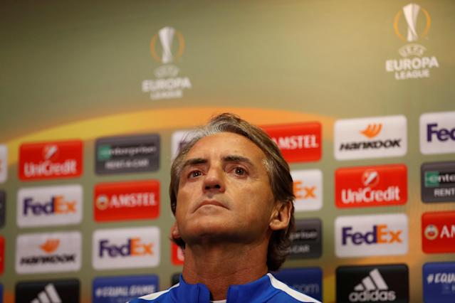 Soccer Football - Europa League - Zenit Saint Petersburg Press Conference - Celtic Park, Glasgow, Britain - February 14, 2018 Zenit St. Petersburg coach Roberto Mancini during the press conference Action Images via Reuters/Lee Smith