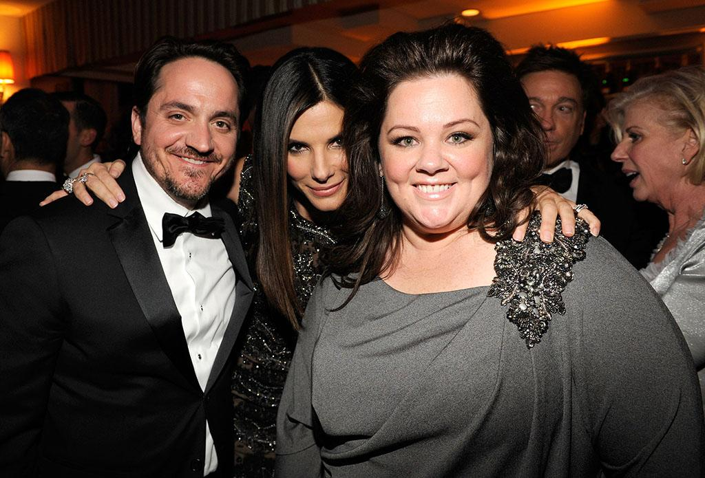 Sandra Bullock and Melissa McCarthy attend the 2013 Vanity Fair Oscar Party hosted by Graydon Carter at Sunset Tower on February 24, 2013 in West Hollywood, California.