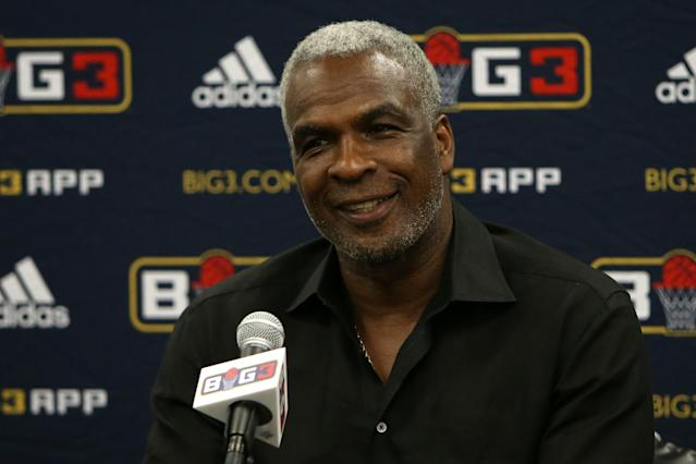 CHICAGO, IL - JUNE 29: Head coach Charles Oakley of Killer 3s speaks to the press after defeating the Ghost Ballers during week two of the BIG3 three on three basketball league at United Center on June 29, 2018 in Chicago, Illinois. (Photo by Dylan Buell/BIG3/Getty Images)