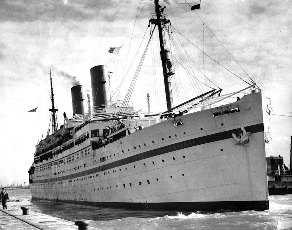 The then troopship 'Empire Windrush' docked in Southampton in 1954 (PA) (PA Wire)