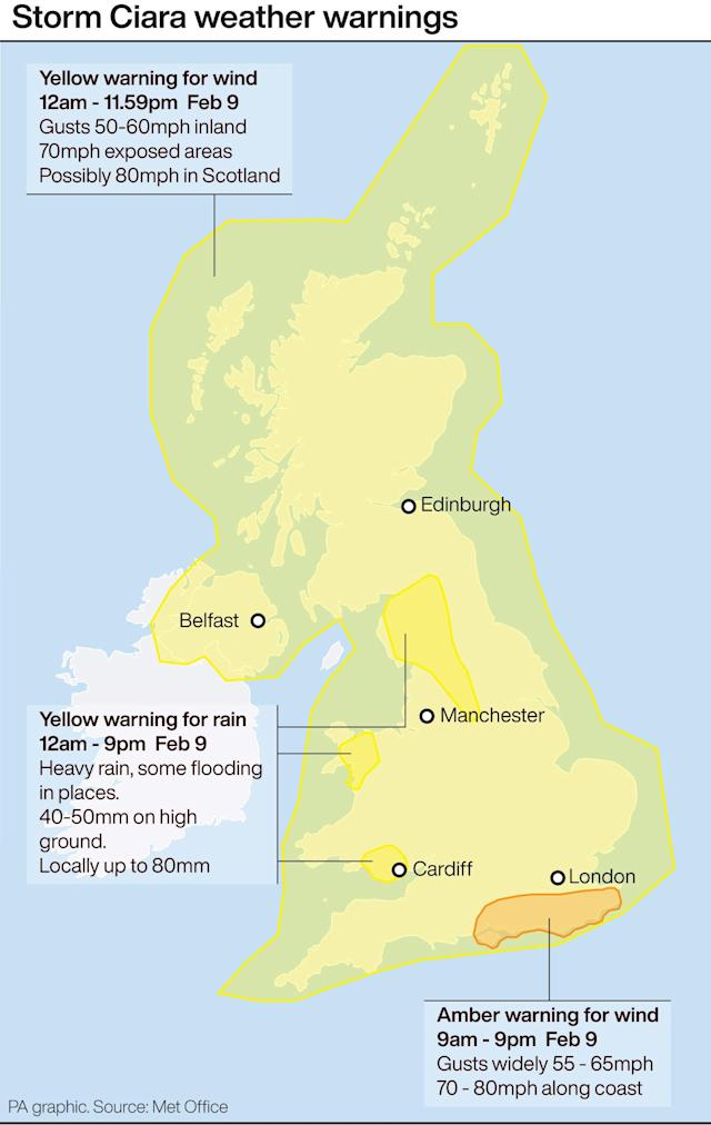 Weather warnings for storm Ciara. Infographic PA Graphics