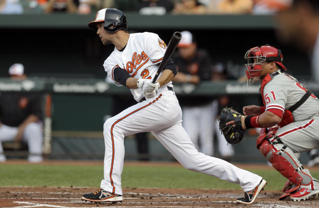 Baltimore Orioles shortstop J.J. Hardy watches his single in front of Philadelphia Phillies catcher Carlos Ruiz in the first inning of an interleague baseball game, Tuesday, June 16, 2015, in Baltimore. Travis Snider scored on the play. (AP Photo/Patrick Semansky)