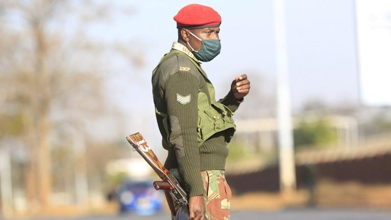 A soldier at a checkpoint in Harare, Zimbabwe - Friday 31 July 2020