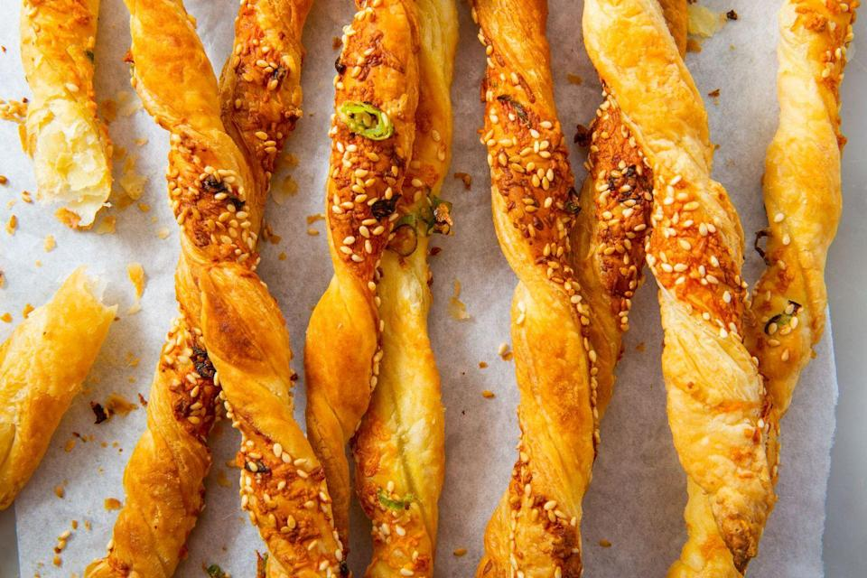 """<p>Crunchy, flaky, and cheesy. What's not to love?</p><p>Get the recipe from <a href=""""https://www.delish.com/cooking/recipe-ideas/a30142671/easy-cheese-straws-recipe/"""" rel=""""nofollow noopener"""" target=""""_blank"""" data-ylk=""""slk:Delish"""" class=""""link rapid-noclick-resp"""">Delish</a>.</p>"""