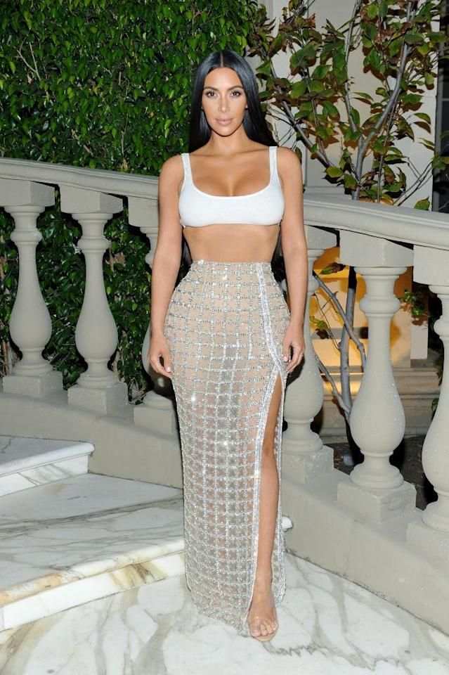 <p>Kardashian West revealed an outfit mishap — and some skin — on her social media, when she got some makeup on her white bralette. (Photo by Donato Sardella/Getty Images for BALMAIN) </p>