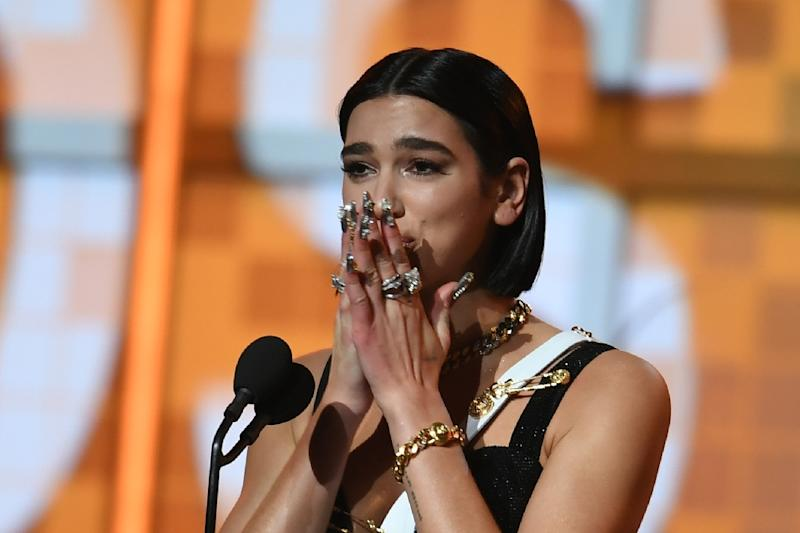 Dua Lipa accepts the award for Best New Artist at the Grammys (AFP Photo/Robyn Beck)