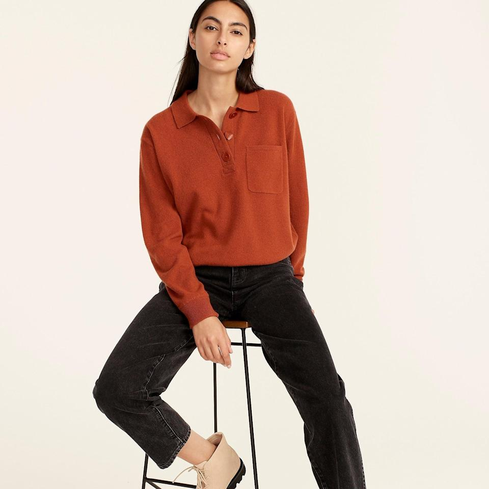 """<br><br><strong>J. Crew</strong> Cashmere collared sweater, $, available at <a href=""""https://go.skimresources.com/?id=30283X879131&url=https%3A%2F%2Fwww.jcrew.com%2Fp%2Fwomens%2Fcategories%2Fclothing%2Fsweaters%2Fpullovers%2Fcashmere-collared-sweater%2FAQ382"""" rel=""""nofollow noopener"""" target=""""_blank"""" data-ylk=""""slk:J. Crew"""" class=""""link rapid-noclick-resp"""">J. Crew</a>"""