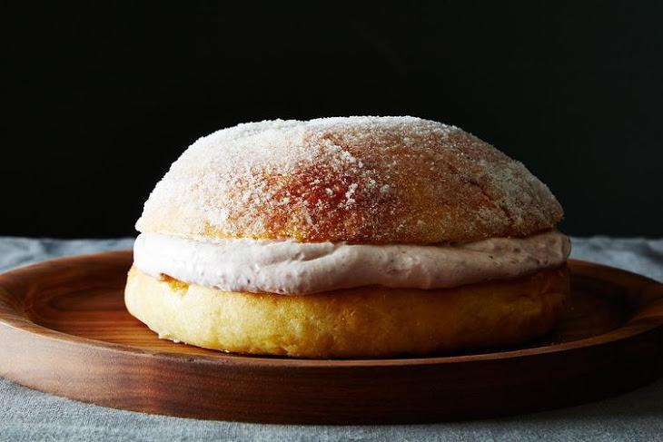 """<p>Like jelly doughnuts, but love cake more? Food52 has you covered. This gargantuan interpretation of classic <i>sufganiyot (jelly doughnuts)</i>, stuffed with a rich raspberry whipped cream filling, does not disappoint. <a href=""""https://www.yahoo.com/food/a-giant-jelly-donut-cake-for-hanukkah-104780643483.html"""" data-ylk=""""slk:Get the recipe here.;outcm:mb_qualified_link;_E:mb_qualified_link;ct:story;"""" class=""""link rapid-noclick-resp yahoo-link"""">Get the recipe here.</a> <i>(Photo: James Ransom)</i></p>"""