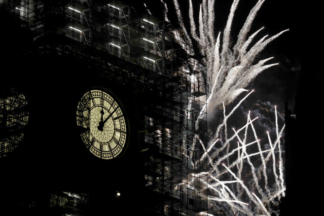 "<p>Fireworks explode over the River Thames behind the Elizabeth Tower which contains the bell know as ""Big Ben"", at the Houses of Parliament in London, as New Year's celebrations take place after midnight, Monday, Jan. 1, 2018. Scaffolding stands erected around the Elizabeth Tower for repairs, with the last extensive conservation works taking place more than 30 years ago. (Photo: Matt Dunham/AP) </p>"