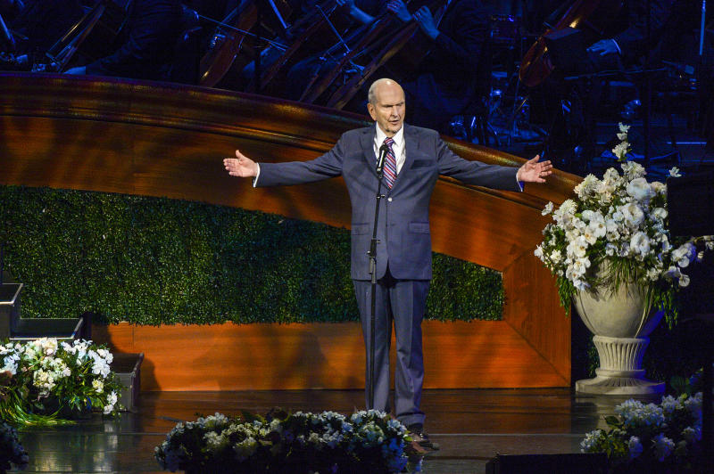The Church of Jesus Christ of Latter-Day Saints President Russell M. Nelson addresses the congregation at the close of the gala celebrating his 95th birthday at The Church of Jesus Christ of Latter-Day Saints Conference Center Friday, Sept. 6, 2019, in Salt Lake City. Nelson has been a transformative president since he took over in January 2018. (Leah Hogsten/The Salt Lake Tribune via AP)