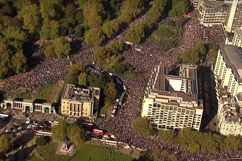 Hundreds of thousands gathered in central London for the event (Sky News)