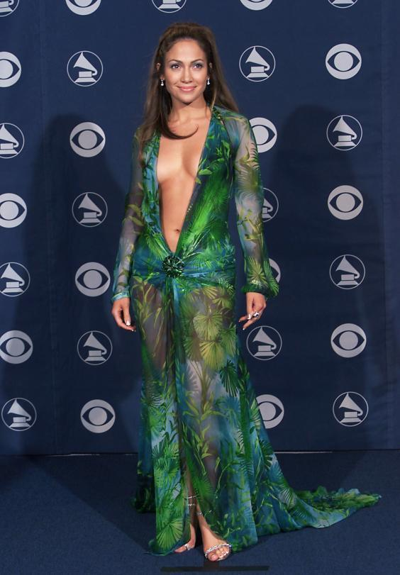 Jennifer Lopez in the Versace dress at the 42nd Grammy Awards (23 February 2000) (Getty Images)