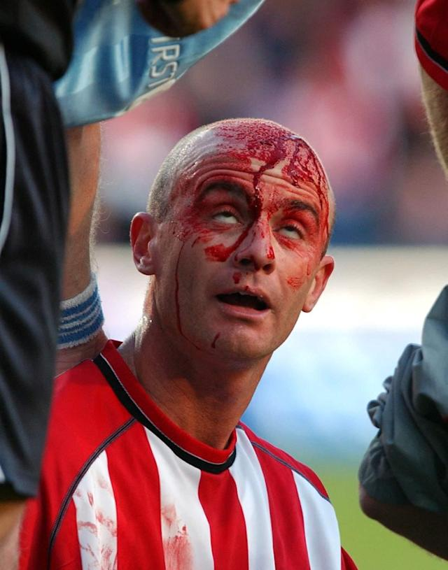 Southampton's Chris Marsden does his best Terry Butcher impression - Robin Jones (Digital South)