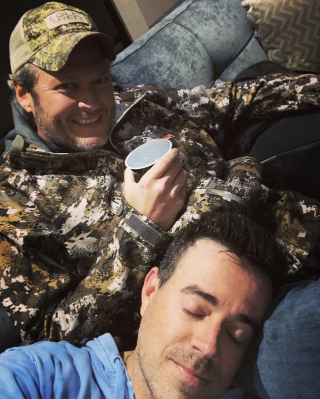 "<p>Look away, Adam Levine! ""Every Tuesday before results night on @nbcthevoice I take a quick disco nap on @blakeshelton's lap,"" the host of the singing competition wrote. ""He quietly sings 'Drink On It' to me & I'm OUT every time!"" (Photo: <a href=""https://www.instagram.com/p/BcVx_lbl-Wb/?taken-by=carsondaly"" rel=""nofollow noopener"" target=""_blank"" data-ylk=""slk:Carson Daly via Instagram"" class=""link rapid-noclick-resp"">Carson Daly via Instagram</a>) </p>"