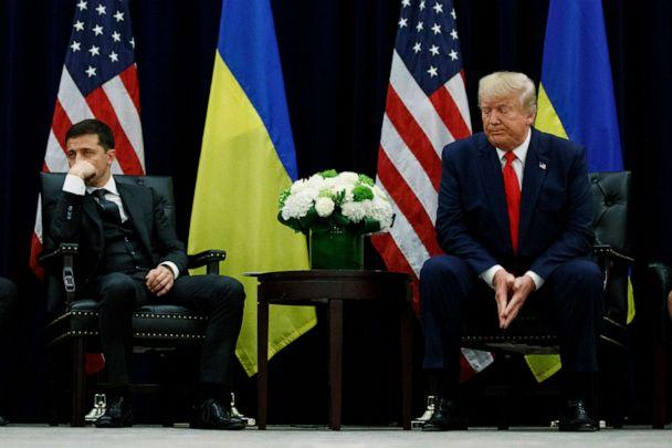 PHOTO: President Donald Trump meets with Ukrainian President Volodymyr Zelenskiy at the InterContinental Barclay New York hotel during the United Nations General Assembly in New York, Sept. 25, 2019. (Evan Vucci/AP, FILE)