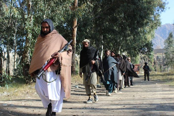 """<span class=""""caption"""">In early 2021, some Taliban fighters surrendered their weapons to support peace talks with the Afghan government. Today the Islamic extremist group is battling government forces to control the country. </span> <span class=""""attribution""""><a class=""""link rapid-noclick-resp"""" href=""""https://www.gettyimages.com/photos/taliban-fighters?agreements=pa%253A91269&family=editorial&page=2&phrase=Taliban%2520fighters&sort=newest"""" rel=""""nofollow noopener"""" target=""""_blank"""" data-ylk=""""slk:Xinhua/Emran Waak via Getty Images"""">Xinhua/Emran Waak via Getty Images</a></span>"""