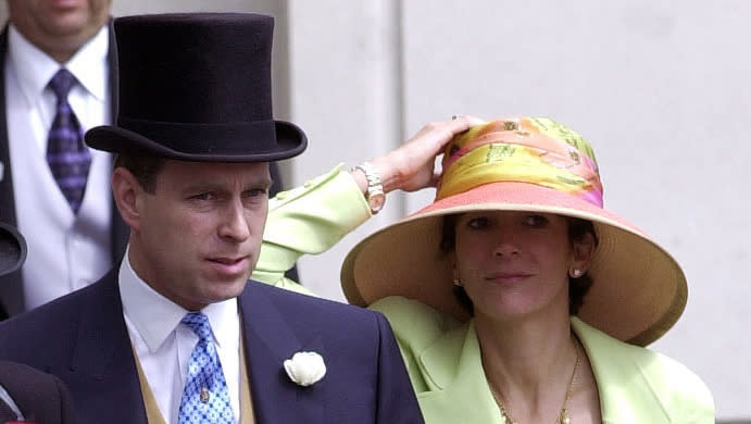 Prince Andrew and Maxwell at Ascot in 2000. (Tim Graham Photo Library via Getty Images)