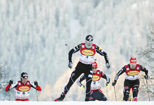 (L-R) Austria's Mario Stecher, US Todd Lodwick, Germany's Johannes Rydzek and Germany's Bjoern Kircheisen compete in the nordic combined World Cup on December, 18, 2010 in Ramsau. AFP PHOTO/DIETER NAGL (Photo credit should read DIETER NAGL/AFP/Getty Images)