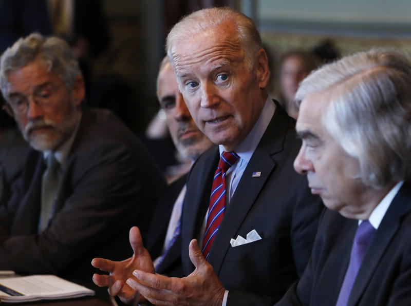FILE - In this Tuesday, Oct. 4, 2106, file photo, Vice President Joe Biden speaks during a meeting of the Cancer Moonshot Task Force in the Eisenhower Executive Office Building on the White House complex in Washington. (AP Photo/Carolyn Kaster, File)