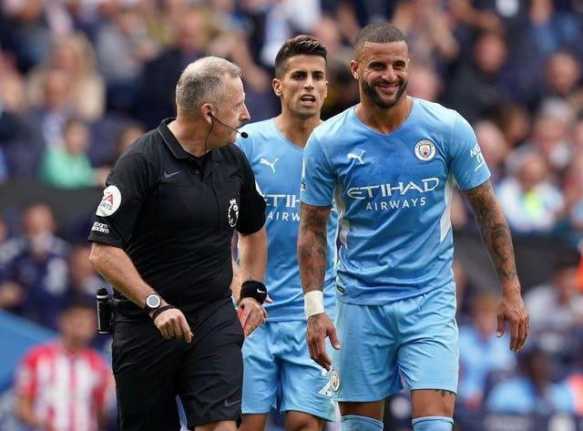 Refeee Jon Moss reprieved Kyle Walker after initially showing him the red card