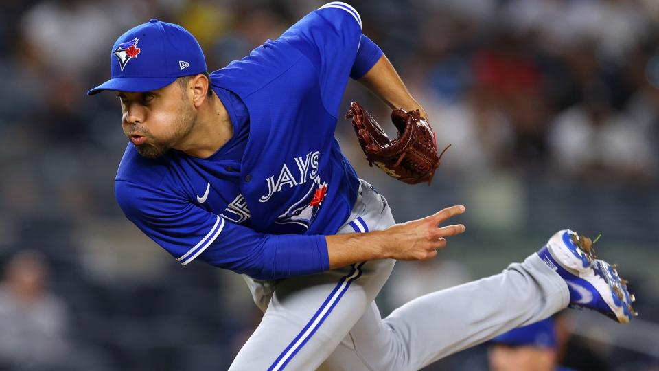 NEW YORK, NY - SEPTEMBER 07: Joakim Soria #28 of the Toronto Blue Jays in action during a game against the New York Yankees at Yankee Stadium on September 7, 2021 in New York City. (Photo by Rich Schultz/Getty Images)