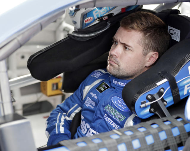 "<a class=""link rapid-noclick-resp"" href=""/nascar/sprint/drivers/1633/"" data-ylk=""slk:Ricky Stenhouse Jr"">Ricky Stenhouse Jr</a>. waits to go out on the track during a practice session for the NASCAR Daytona 500 auto race at Daytona International Speedway, Friday, Feb. 16, 2018, in Daytona Beach, Fla. (AP Photo/John Raoux)"