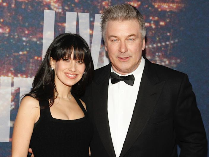 Hilaria and Alec Baldwin at the SNL anniversary event in 2014 AP