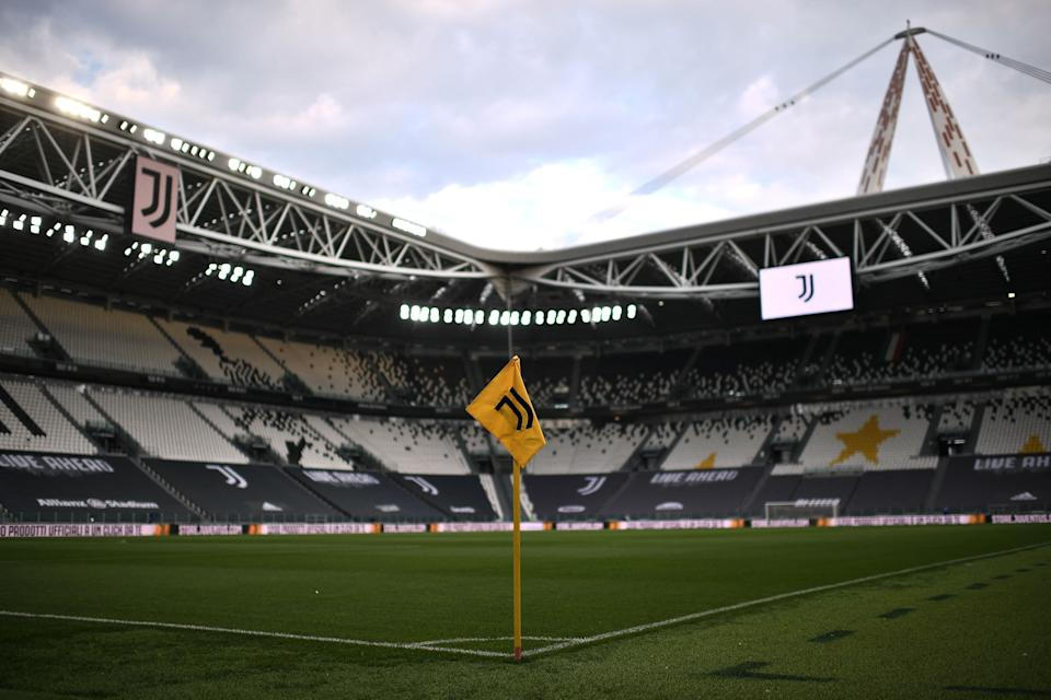 A view shows the logo of the Juventus Italian Serie A football club on April 21, 2021 at the Juventus stadium in Turin. - Italian champions Juventus, one of the driving forces behind the the new European Super League (Photo: MARCO BERTORELLO via Getty Images)