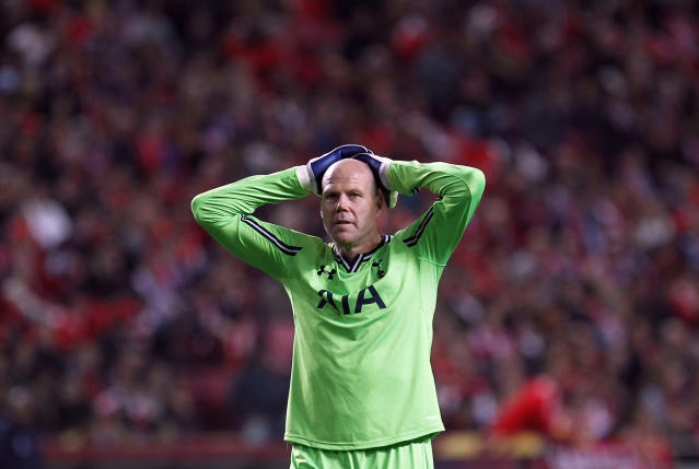 FILE - In this Thursday, March 20, 2014, file photo, Tottenham's goalkeeper Brad Friedel gestures during the Europa League, round of 16, second leg soccer match between Benfica and Tottenham at Benfica's Luz stadium, in Lisbon. Veteran American goalkeeper Brad Friedel has signed a new one-year contract with Tottenham, where he will also take up an ambassador role from next season. (AP Photo/Francisco Seco, File)