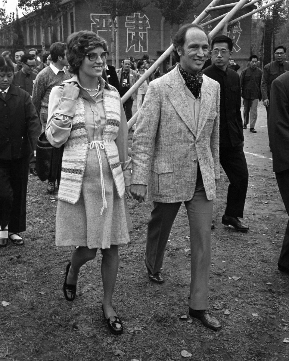Former prime minister Pierre Trudeau holds hands with wife Margaret during a walkabout in Beijing, China on Oct. 11, 1973. THE CANADIAN PRESS/PETER BREGG