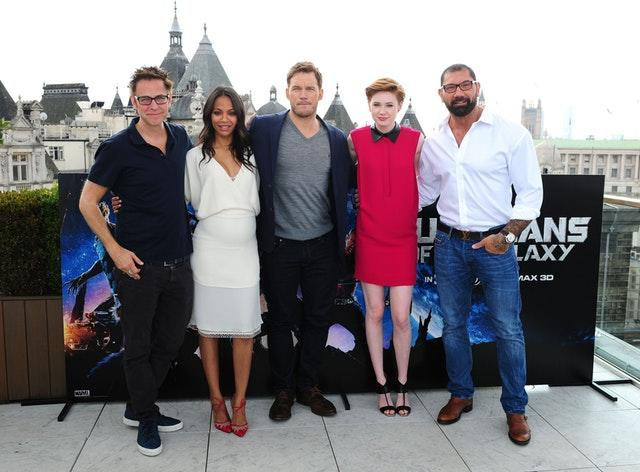 James Gunn, Zoe Saldana, Chris Pratt, Karen Gillan and David Bautista attending a photocall for Guardians Of The Galaxy