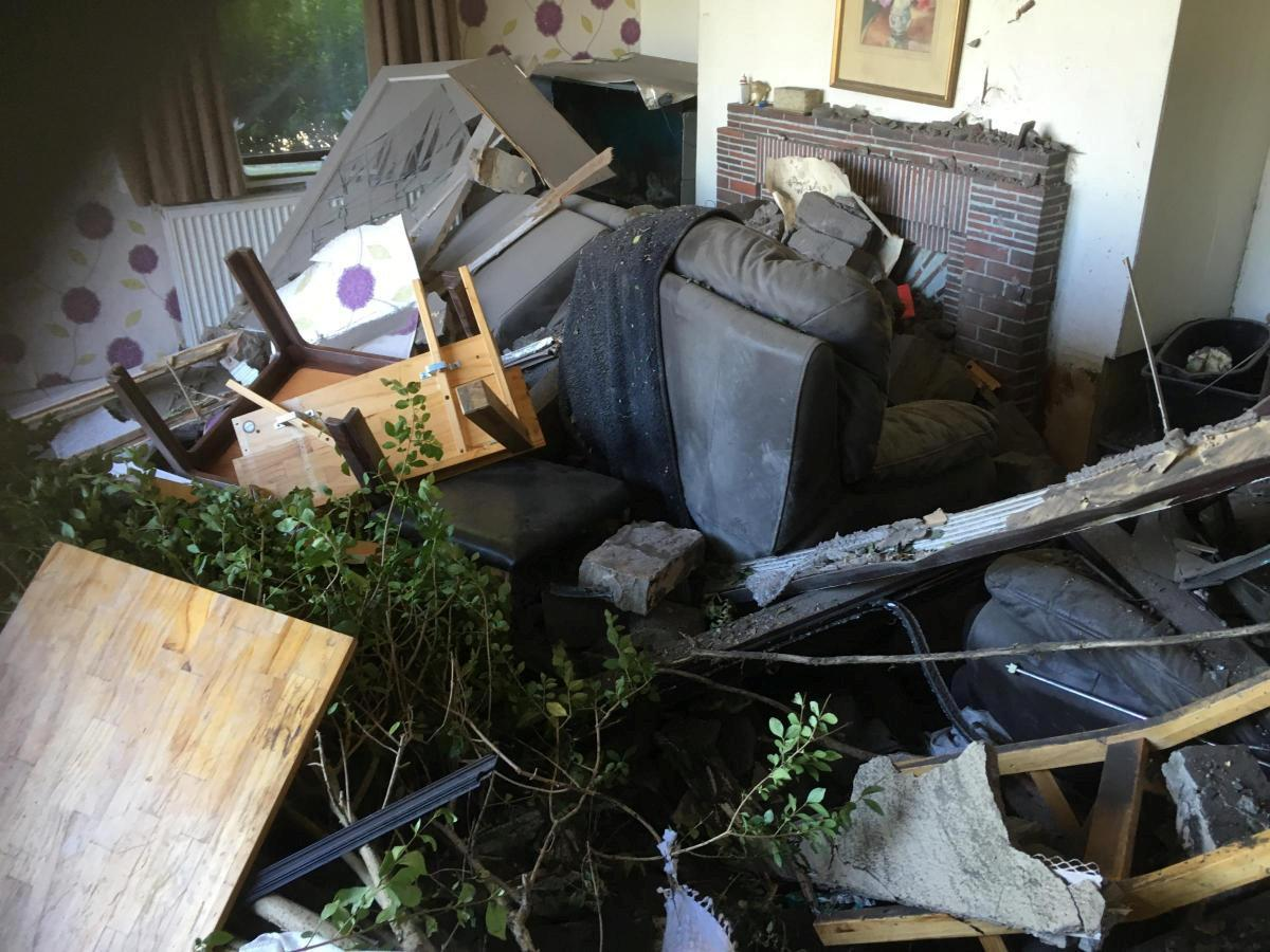 <em>Devastation – Tony said it will cost tens of thousands of pounds to repair the mess left by the car (Picture: SWNS)</em>
