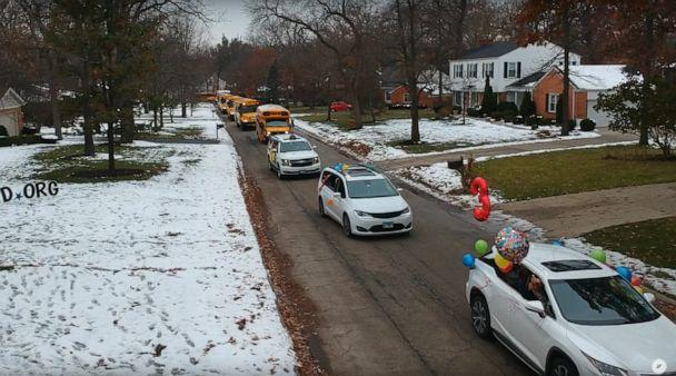 PHOTO: Over 100 trucks, buses, cars and first responder vehicles came to the event held on Nov. 17. in Lincolnshire, Illinois, in celebration of Nash Stineman, in celebration of his third brithday. (Luca Farris/LF Productions)